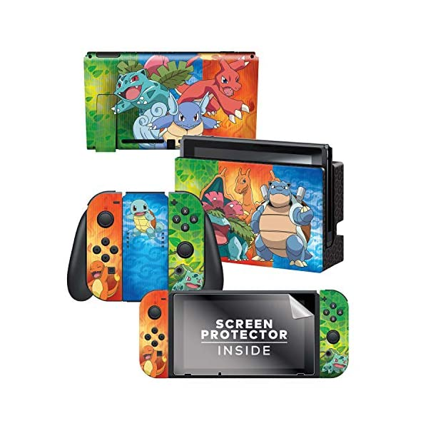 Controller Gear Nintendo Switch Skin & Screen Protector Set - Pokemon - Kanto Evolutions Set 1 - Nintendo Switch 1