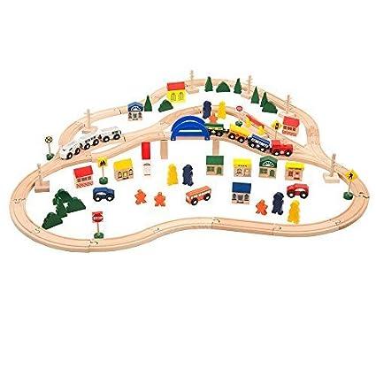 Amazon.com: All Aboard Deluxe Wooden Train Set (102-Piece) by Battat ...