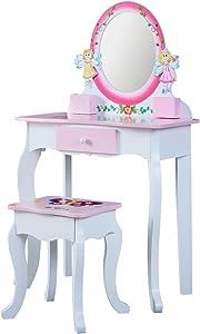 WODENY Kids' Vanity Table Set with Mirror Children Dressing Table & Stool Set for Little Girls Makeup Bedroom Furniture