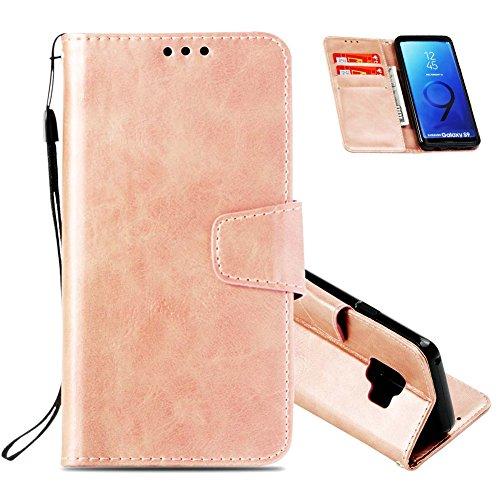 Flip Handyhüllen für Samsung S9 Plus, Samsung S9 Plus Leder Hüllen Flip Case, Magnetverschluss Kartenfach Ständer Handytasche für Samsung S9 Plus, Sehr Dünn Prägung Eleganter Flamingo Muster Abnehmbar C- Roségold