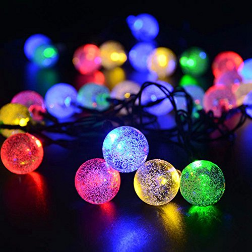 Solar Powered Globe String Lights (30 LED) - Decorative Outdoor Crystal Ball Bulbs for Home, Patio and Garden - Festive Waterproof Fairy Bubble Lighting for Cafes,Camping and Outdoors (Multi - Rope Column