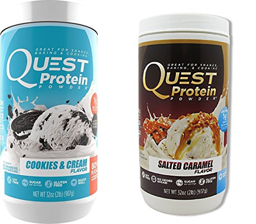 Quest Nutrition Quest Protein LxJFEN Powder, Cookies and Cream/Salted Caramel 2lb Tub (1 of Each) by Quest Nutrition