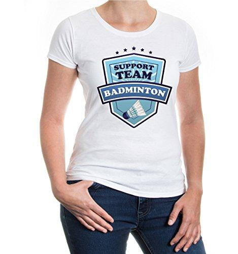 buXsbaum® Girlie T-Shirt Badminton-Support Team White