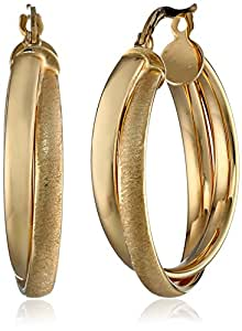 14k Yellow Gold Italian High Polish and Satin Finish Double Row Interlaced Hoop Earrings