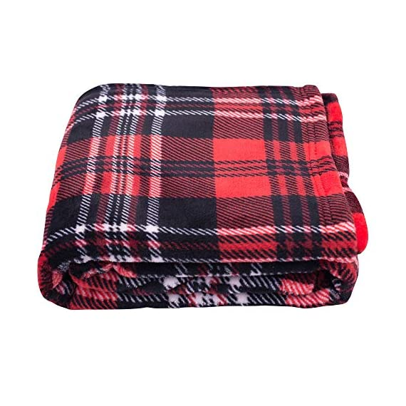 SOCHOW Flannel Fleece Blanket 50 × 60 Inches, All Season Plaid Red/Grey Blanket for Bed, Couch, Car - MATERIAL&DESIGN:These flannel blankets are 100% high-quality polyester fiber. The thick and thin lines are interspersed to emphasize the texture of the blankets, which are endowed with modern style without compromising comfort.They are extremely soft and warm with delicate package edge, rigorously designed with rigorous broad-brimmed pattern. Besides, they also feature seamless round edge, solid and beautiful. EASY CARE: - Machine washable under 30 degrees -Easy to store, -Wrinkle-resistant -High color fastness &No hair off. MULTI FUNCTIONS:Suitable use for couch, chair, car, bed or on the floor. It's also easy to take to outdoors. - blankets-throws, bedroom-sheets-comforters, bedroom - 51ai8LZ79yL. SS570  -