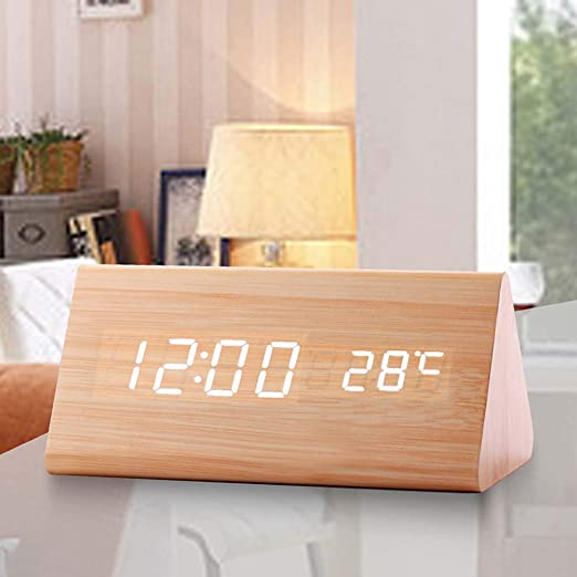 Noir 3 Param/ètres dalarme NewBull Wooden Digital Alarm Clock Sound Activated Desk Clock pour lheure la Temp/érature