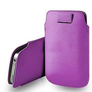 Samsung Galaxy S4 i9500 cuero púrpura Tire Tab caso de la cubierta Pouch + paño de pulido