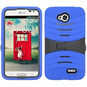 Blue Black Hard Soft Gel Dual Layer Cover Case for LG Optimus L70 D325 B13XW