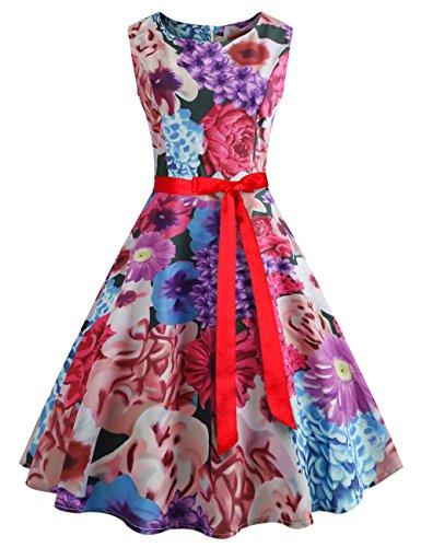 HUINI Geblümtes Kleid Damen Vintage Kleider 50er Jahre Rockabilly Retro  Swing Kleid Ärmellos Cocktailkleid mit Gürtel 9e3191c767