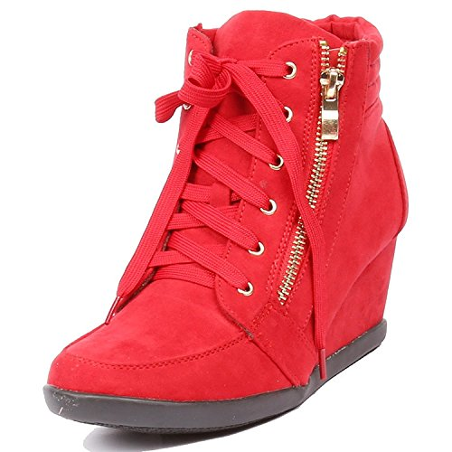 Lace Up Suede Jean - Women's Fashion Wedge Sneakers High Top Hidden Wedge Heel Platform Lace Up Shoes Ankle Bootie Red 8