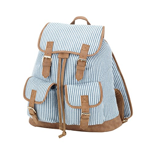 Navy Seersucker Striped Faux Leather Buckles Drawstring Campus Backpack -