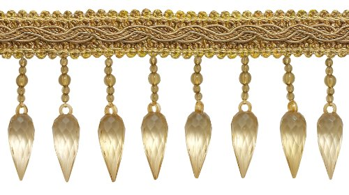 DÉCOPRO 3 Yard Pack of Two Tone Gold Baroque COLL. 3 inch Beaded Fringe Style# B78B Color: Gold Medley - 8633 (9 Ft / 2.75M)