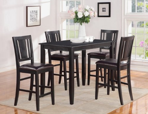 Wooden Imports Furniture BU3-BLK-LC 3 PC Buckland Counter Height Table 30 in. x 48 in. & 2 Stools with Faux Leather seat in Black Finish