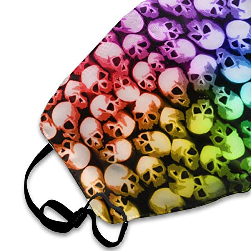 Garde Art Studio Men Women Washable Reusable Anti Dust Half Face Mouth Mask with Adjustable Ear Loops Protection Face Masks Stacking Skull Colorful Cool