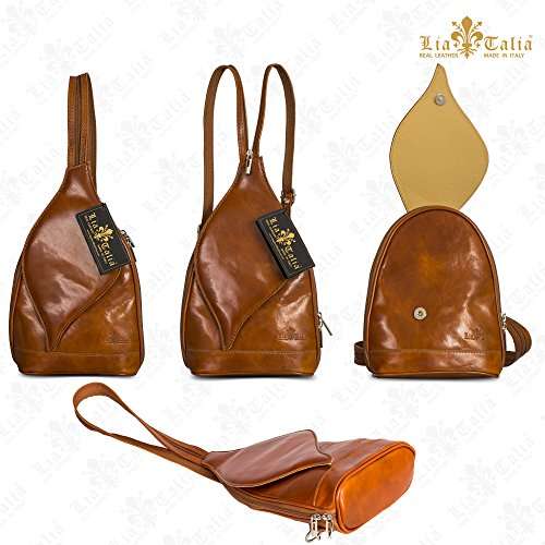 Medium KIM Italian Womens Bag LIATALIA Duffle Small Tan Backpack Shoulder Real Brown Leather Rucksack UPRvB