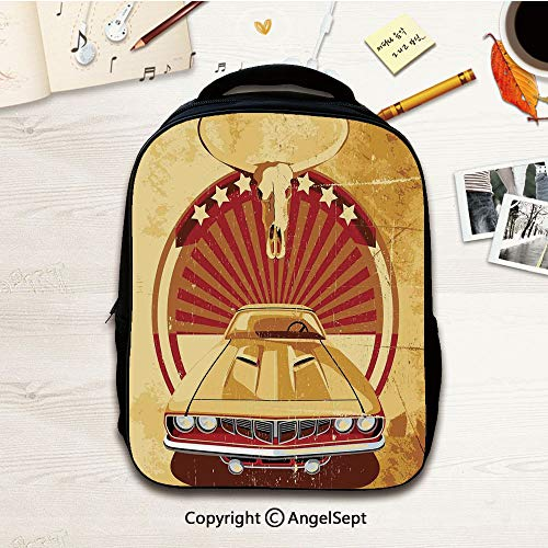 Vivid Print Mini Toddler Backpack,Cars Aged Original Sports Car with Round Vignette,12.2