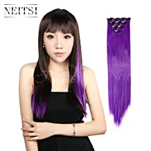 Neitsi 10pcs 18'' Straight Clip on in Synthetic Hair Extensions Highlight Hairpieces 10Colors avaliable (Purple)