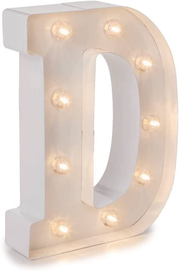 """Darice White Metal Marquee Letter – D - 9.87"""" Tall, White Finish"""