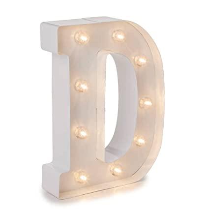 Amazon Com Darice Metal Letter D Marquee Light Up White