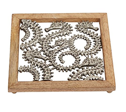 Mud Pie Seahorses Kitchen and Dining Trivet Aluminum and Mango Wood 8.5 Inches (Aluminum Trivet)