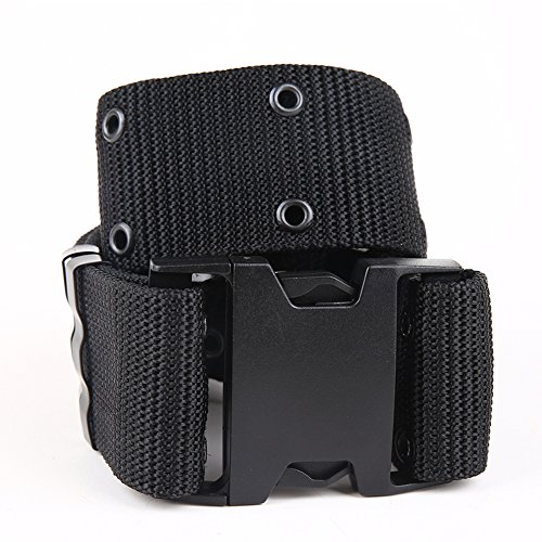 (HIPICB Military Men Belt Tactical Nylon Canvas Outside Army Trouser Buckle Strap (Black))
