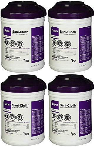 Sani-Cloth Q55172 Super Wipes Surface Disinfectant Germicidal Cloths High Alcohol Large Size (Pack of 4 Tubs)