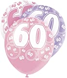 "12"" Latex Glitz Pink 60th Birthday Balloons, Pack of 6"