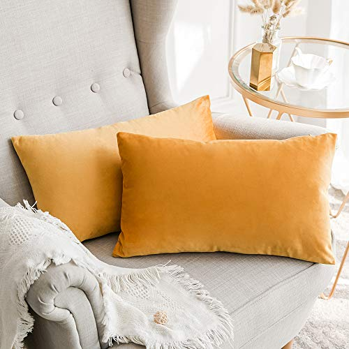 MIULEE Pack of 2, Velvet Soft Soild Decorative Square Throw Pillow Covers Set Cushion Case for Sofa Bedroom Car 12 x 20 Inch 30 x 50 cm