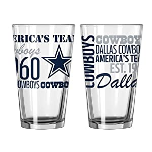 2015 NFL Football Spirit Series Beer Pints - 16 ounce Mixing Glasses, Set of 2 (Cowboys)