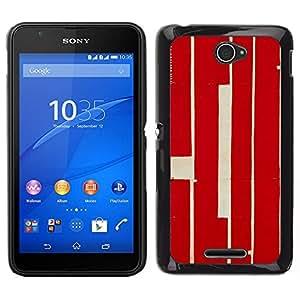 // PHONE CASE GIFT // Duro Estuche protector PC Cáscara Plástico Carcasa Funda Hard Protective Case for Sony Xperia E4 / Red Calligraphy Lines Retro Rustic Worn /