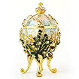 Apropos Hand-Painted Vintage Style Faberge Egg with Rich Enamel and Sparkling Rhinestones Jewelry Trinket Box (S. White Cross)