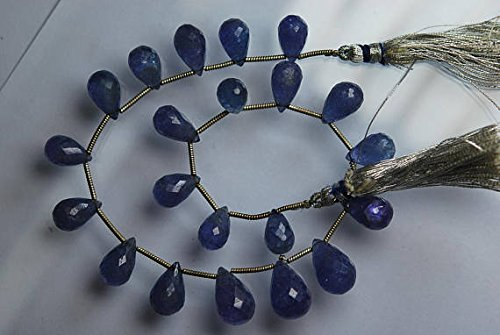 JP_BEADS 104 Carats, 9 Inches Strand, Blue Tanzanite Faceted Drops Briolettes, Large Drops Size 10-14mm