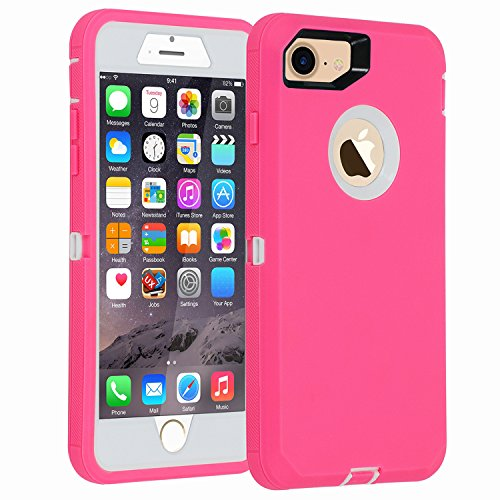 iPhone 7/8 case, [Heavy Duty] Armor 3 in 1 Built-in Screen Protector Rugged Cover Dust-Proof Shockproof Drop-Proof Scratch-Resistant Tough Shell for Apple iPhone 7 4.7 inch Pink/White