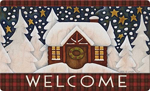 Toland Home Garden Snowy Cabin 18 x 30 Inch Decorative Floor Mat Outdoor Plaid Winter Snow Welcome Doormat – 800094