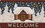 Toland Home Garden Snowy Cabin 18 x 30 Inch Decorative Floor Mat Outdoor Plaid Winter Snow Welcome Doormat