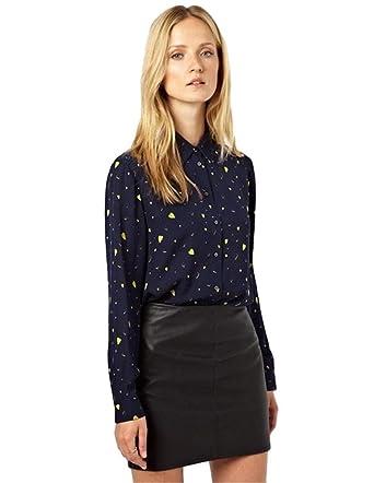 f33909f7f5c8f0 Women s Wear to Work Turndown Collar Heart Print Shirt Blouse Top Dark Blue  at Amazon Women s Clothing store