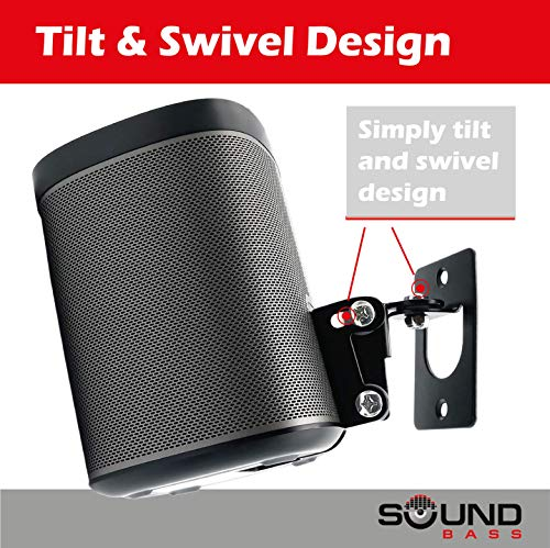 2 x SONOS Play 1 Wall Mount, Twin Pack, (NOT Compatible with SONOS ONE) Adjustable Swivel & Tilt Mechanism, 2 Brackets for Play:1 Speaker with Mounting Accessories, Black by Sound Bass (Image #7)
