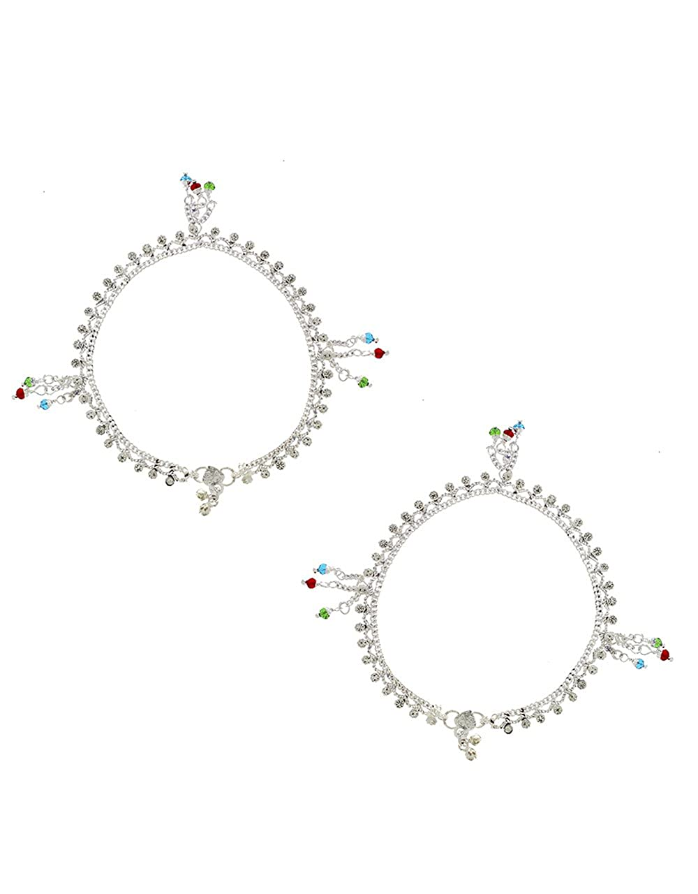 Anuradha Art Silver Colour Styled with Multi Colour Droplet Anklet//Payal for Women//Girls