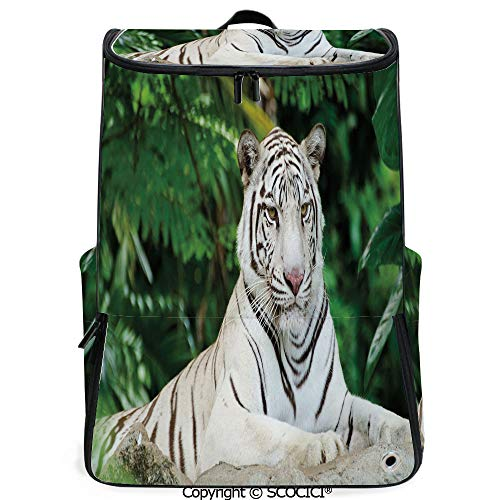 SCOCICI Outdoor Travel Backpack,Albino Bengal Cat Sitting on a Rock in Forest Southeast Asia Indigenous Species,Fern Green White,with Sponge Padded Shoulder Straps