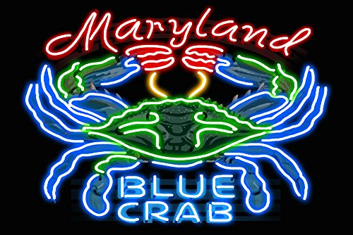 Maryland - Blue Crab Neon Sign (16x24 Giclee Gallery Print, Wall Decor Travel Poster)