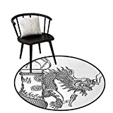 Absorbent Round Rug Dragon Unique Design Chinese Style Sacred Creature Statue Sketch Medieval Monster Fantasy Tattoo Image Black White D47(120cm)