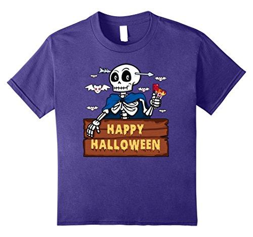 Kids Happy Halloween Cute Skeleton Costume T-Shirt 8 Purple