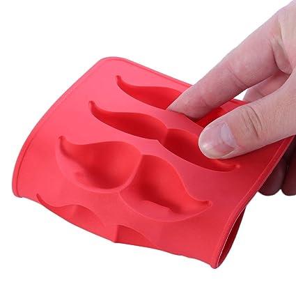 Footprintse Práctico y creativo Forma de bigote Congelar Bandeja de molde de hielo Molde de silicona