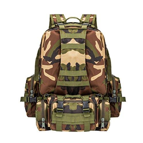 WanYang Paquete Combinado Rucksack Mochila Militar Táctica Camping Senderismo Deporte Backpack de Asalto Patrulla para Hombre Mujer Camuflaje D