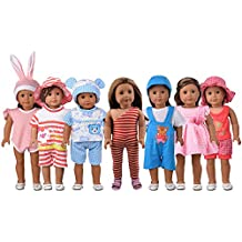 Eric&nicole 5 Sets Doll Clothes. Casual Everyday Outfit Mix Set Fits 18 Inch And 16 Inch American Gril Doll Clothes