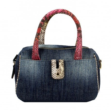 Ideal by Swan Shoes Denim With Reptile Effect Shoulder Straps Bag LIDY