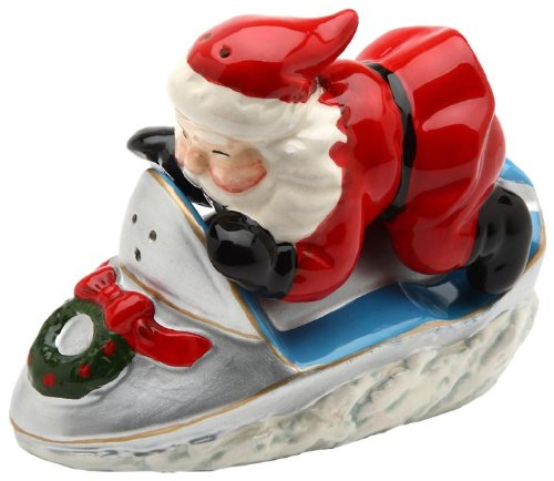 Cosmos Santa on Snowmobile Salt and Pepper Set, 2-Inch Tall