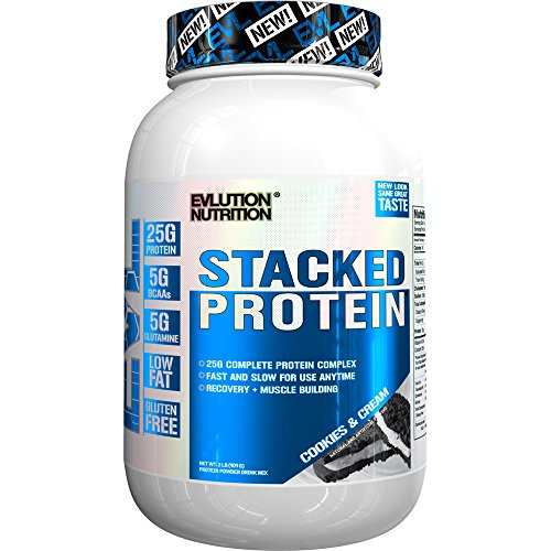 Evlution Nutrition Stacked Protein Protein Powder With 25 Grams of Protein, 5 Grams of BCAA's and 5 Grams of Glutamine (Stacked Protein 2 LB, Cookies & Cream) by Evlution
