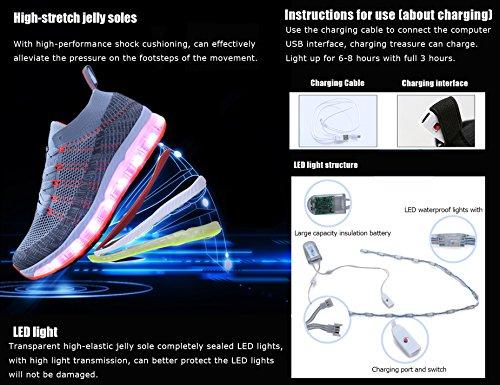 Mr.Ang LED Zapatos Primavera-Verano-Otoño Transpirable Zapatillas LED 7 Colores Recargables Luz Zapatos de Deporte de Zapatillas con Luces Para Niños Niñas G09 Gris Naranja
