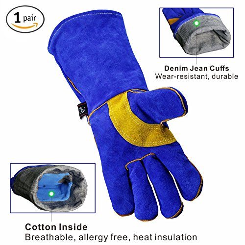 Oven Welder - KIM YUAN Leather Welding Gloves - Heat/Fire Resistant, Perfect for Gardening/Oven/Grill/Mig/Fireplace/Stove/ Pot Holder/Tig Welder/Animal Handling/BBQ - Denim jean cuffs -16inches